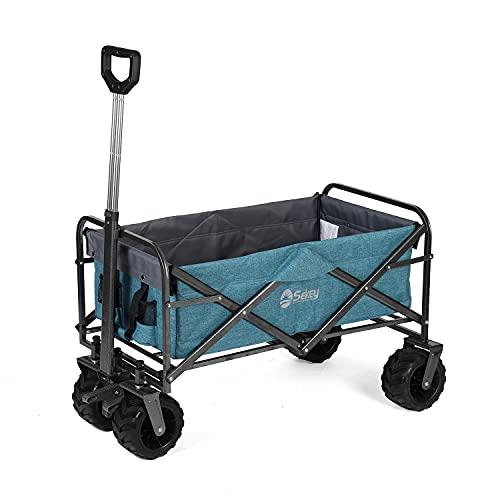 Sekey Carro Plegable Carro de Mano con Frenos Carrito Playa Carro Transporte para Jardín hasta 120kg 360° Giratorio Apto para Todo Terreno, Azul claro
