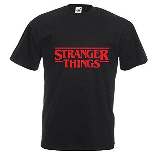 T-Shirt mit Stranger-Things-Aufdruck, Logo der Netflix-Serie - XS - schwarz