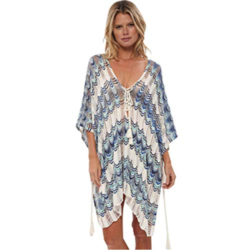HAIGOU Damen Gestrickte Strandkleid Sommer Strandponcho Strandurlaub Badeanzug Bikini Cover-Ups (Weiß+blau)