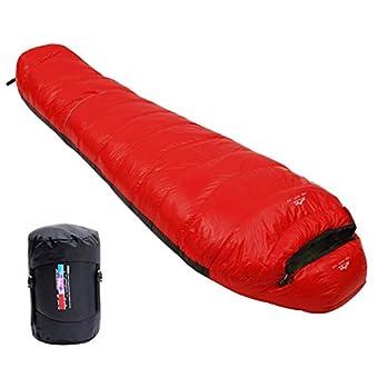 LMR寝袋 シュラフ マミー型 ダウン寝袋 コンパクト収納 軽量型 登山 アウトドア 車中泊 防災用 災害時 避難用 耐寒 [最低温度-15度] (レッド)