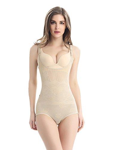Tuopuda Body Faja Reductora Mujer Abdomen con Gancho,cómodo y Ligero Corsé Faja para presumir de Buena Figura sin Costuras (S (Waist 18.3-21.1 Inch), Beige)