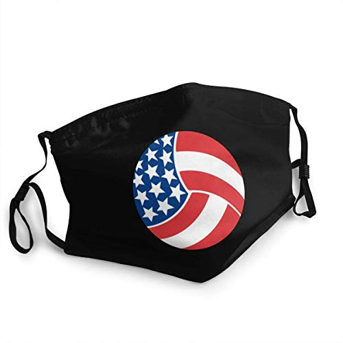 Face Scarf Usa Flag Volleyball Personalized Unisex Cycling Mouth Shield Travel Adjustable Face Protection Sunscreen Face Scarf Soft With 2 Filters Washable Mouth Scarf Anime Windpr