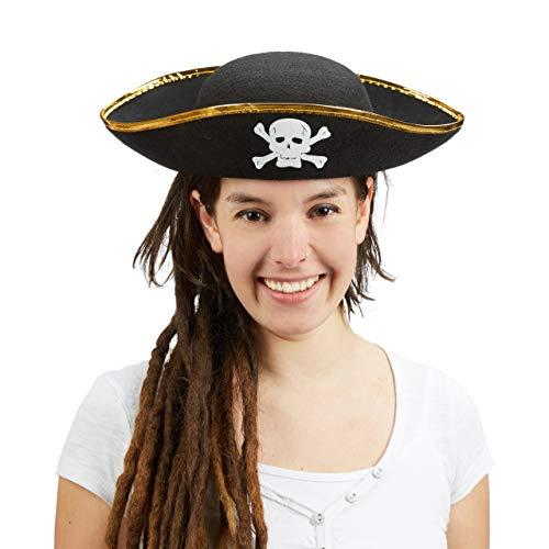 Relaxdays piratenhoed zwart, driepunts met doodskop, carnaval, eenheidsmaat, zwart