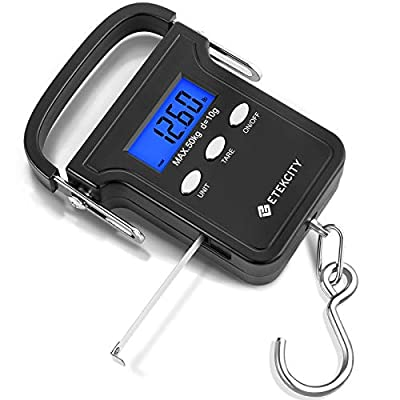 Etekcity Backlit LCD Display Fish Scale, Electronic Hanging Hook Scale, 110lb/50kg Digital Fishing Scale with Measuring Tape, Batteries and Carry Pouch Included