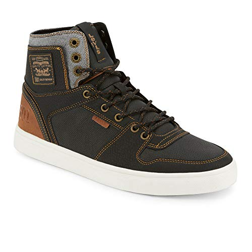 Levi's Mens Mason Hi Fashion Hightop Sneaker Shoe, Black/Tan, 9.5 M