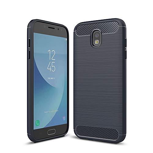 YANTAIAN For Samsung Galaxy J530 / J5 Pro (versión de la UE) Cepillado Textura Fibra de Carbono a Prueba de Golpes TPU Armadura Resistente Caso (Color : Navy Blue)