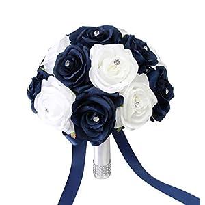 Silk Flower Arrangements Angel Isabella, LLC Build Your Wedding Package - Navy Blue and White Keepsake Artificial Flowers Bouquet Corsage Boutonniere
