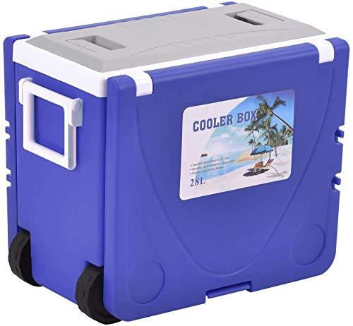XBR Nueva Nevera Plegable con Ruedas, Mesa, 2 taburetes, Mesa de Picnic Grande para Acampar/Playa/Barbacoa/Pesca sin CFC 28L, Azul