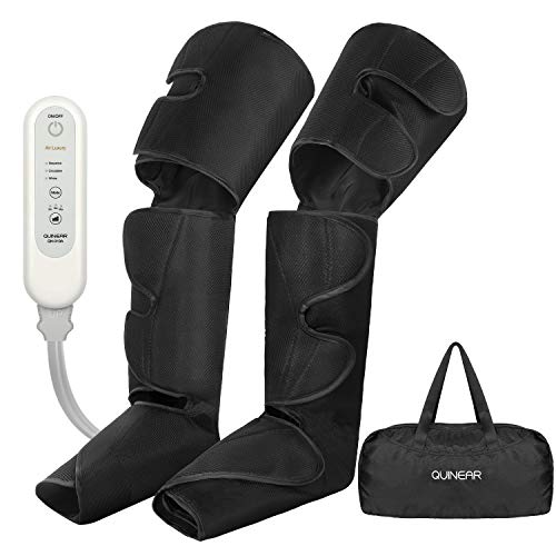 QUINEAR Leg Air Compression Massager for Circulation Foot Calf Thigh Wraps Massage Helpful for Muscles Relaxation and Pain Relief - 3 Modes & 3 Intensities Include 2 Extensions