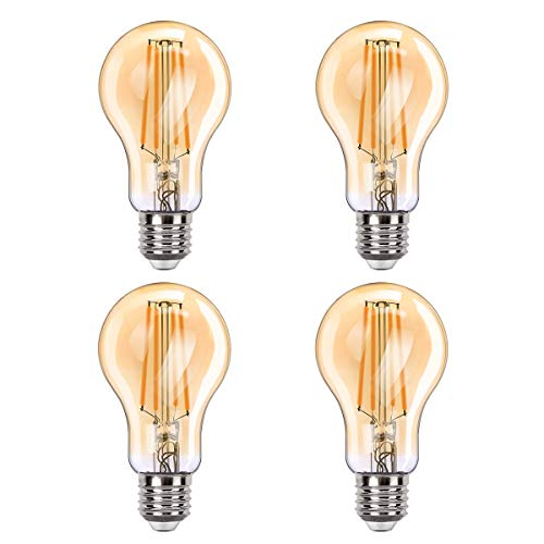 MoKo Smart WLAN Edison Vintage Glühbirne, E27 7.5W WiFi Birne Dimmbar LED Lampe Glühlampe Retro Glühbirnen Kompatibel mit Alexa Echo Google Home SmartThings, Fernsteuerung Timer/Warmweiß Licht, 4 Pack