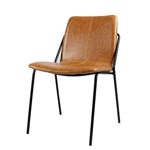 GLJMTY Sedia da Pranzo in Stile Sedia Industriale in Pelle PU Cuscino Morbido Sedile Posteriore Sedia da intrattenimento in Ferro battuto Vintage