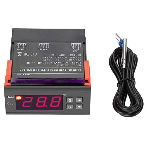 Controlador de temperatura, interruptor de termostato, AC110V 10A 3W -58~194 ° Fahrenheit Sensor Control de enfriamiento/calefacción para refrigeradores domésticos Tanques de agua