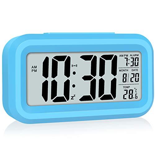 WulaWindy - Reloj despertador digital con pantalla LED, funciona con pilas, luz nocturna, fácil de operar, para niños, dormitorio, escritorio