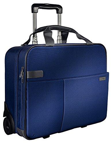 Leitz, Business Softcase Handgepäck-Trolley, Smart Traveller, 17 Fächer, 44 x 37,5 x 23 cm, Polyester/Metall/Leder, Complete, Titan Blau, 60590069