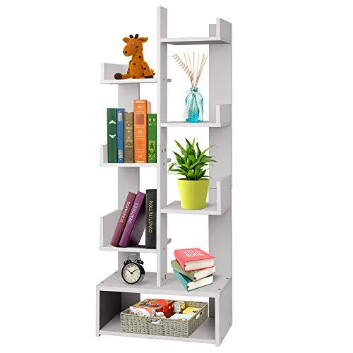 Hossejoy Bookshelf Home Office 8 Tier Floor Stand Bookcase, Wood Bookshelves Storage Rack Display Organizer Shelf for Books, CDs, Plant and Photo Album, White