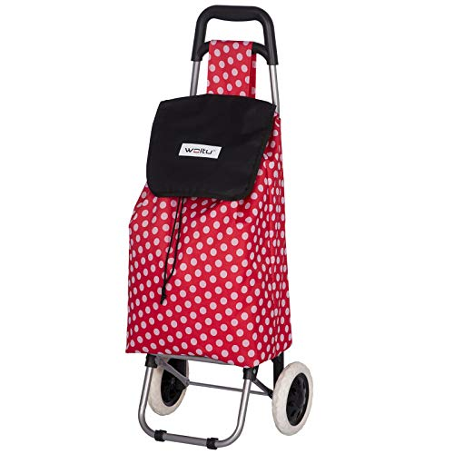 WOLTU Carrito de la Compra Carro Compra con 2 Ruedas Impermeable Extraíble Capacidad de 45L 34x92x27 cm Pink/Negro EW4809