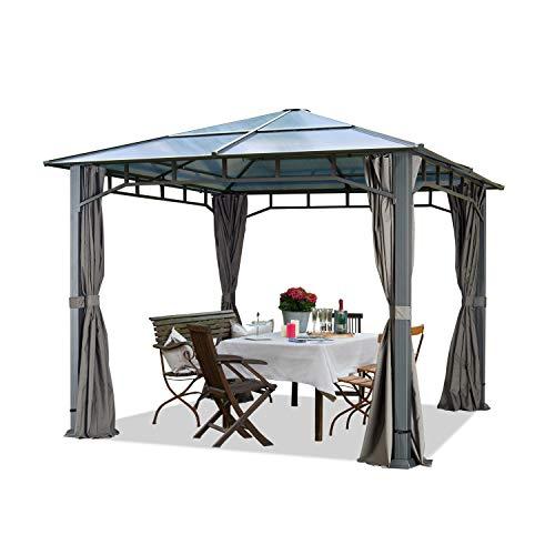 TOOLPORT Gartenpavillon 3x3 m wasserdicht ALU Deluxe Polycarbonat Dach ca. 8mm Pavillon 4 Seitenteile Partyzelt grau 9x9cm Profil
