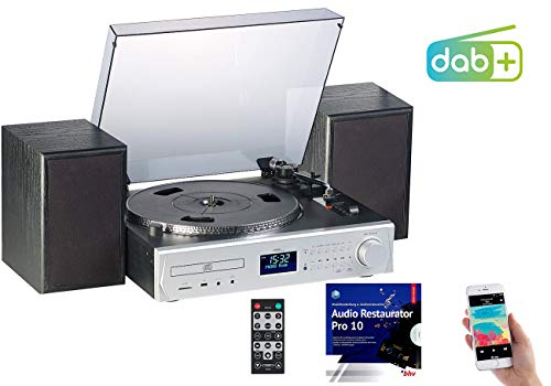 auvisio Kompaktanlage: Plattenspieler/Digitalisierer, DAB+, CD, Bluetooth, MC, USB, MP3, 80 W (Schallplatten digitalisieren)