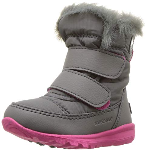 SOREL - Youth Whitney Strap Waterproof Insulated Winter Boot for Kids, Quarry, Ultra Pink, 7 M US