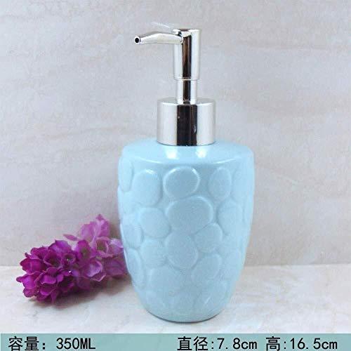 Pgs Vloeibare zeep Container, navulbare Eco Resin Keramiek Vintage zeepdispenser, Retro Industrieel Blue Reliëf Keramiek Shampoo Hand Sanitizer fles,