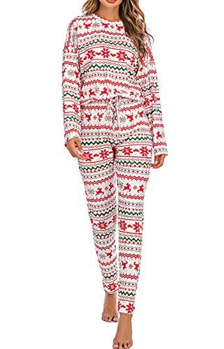Pigiama Set Donna Indumenti da Casa 2 Pezzi Top a Maniche Lunghe Pantaloni Lunghi a Vita Alta Stampati Disegni per Natale Casual Comodo (Bianco, S)