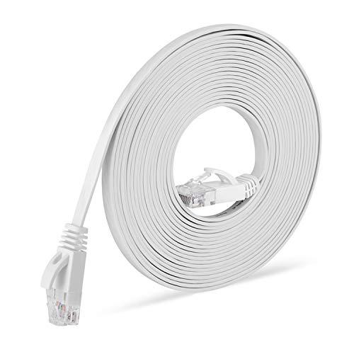 NIAGUOJI Cable Ethernet Cat6 de 15M, RJ45 Plano Alta Velocidad Cordón de Red 10 Gbps, Cable de Conexión con PS4, Xbox, Enrutador, Módem, Interruptor