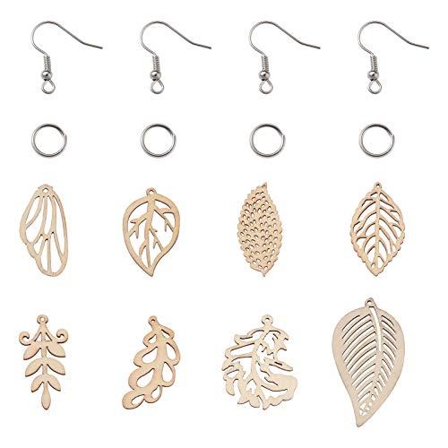 Cheriswelry 80 colgantes de hoja de madera sin terminar, 8 estilos de filigrana, hojas de árbol, colgantes con ganchos para aretes, anillos de salto para joyería