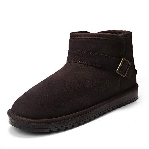 SMSZ Enkellaarzen voor mannen Sneeuw Catton Booties Trek op Suede TPR zool Shell teen Solid Colour Stitch Antislip Monk Strap Decor Fleece Naad (kleur: Camel, Maat : 6.5 UK)