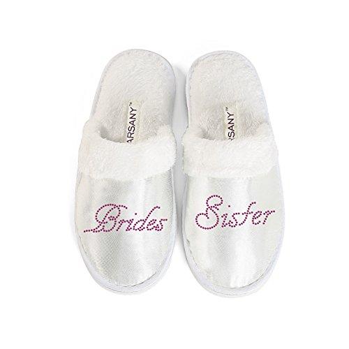 Pink Varsany Schwester der Braut Spa Pantoffeln Junggesellinnenabschied Hochzeit Diamant Strass Kristall Hotelpantoffeln