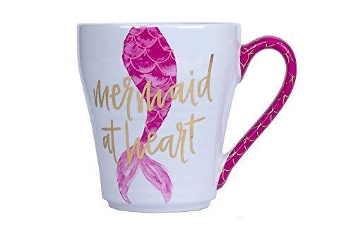 Tri-coastal Design Tee/Kaffeetasse mit Meerjungfrauenschwanz: schöne Keramik Mermaid at Heart Geschenkbecher Meerjungfrau im Herzen Fuchsie