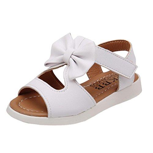 Kinder Schuhe FORH Mädchen Mode Sommer Sandalen Cute Flache Prinzessin Schuhe mit Bowknot Outdoor Strand Sandalen Klettverschluss Ultraleicht Breathable Wanderschuhe (Weiß, 35)