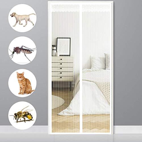 Anti-muggengaas-magie gordijn met heavy duty Ma magnetische vliegengaasdeur, anti-muggengaas, magnetische deur, glasvezel, in elkaar grijpen, gordijn sterke magneten, passend deurmaat tot - wit