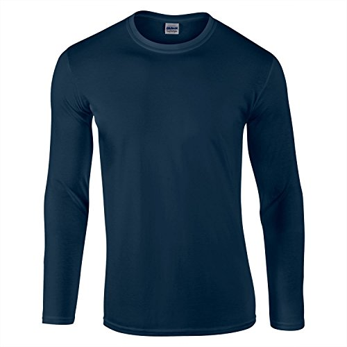 Gildan Ultra Cotton L/Sleeve Tee T-Shirt, Bleu Marine, S Homme
