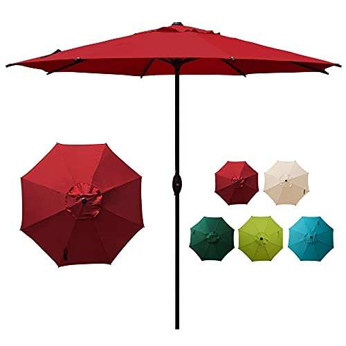 Abba Patio 9ft Patio Umbrella Outdoor Market Table Umbrella with Push Button Tilt and Crank for Garden, Lawn, Deck, Backyard & Pool, 8 Sturdy Ribs, Red