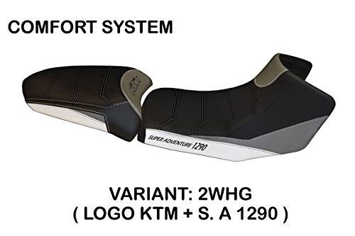 Funda de sillín para KTM 1290 Super Adventure S-T, modelo Panarea 3 Comfort Tapicería Italia (blanco/gris)