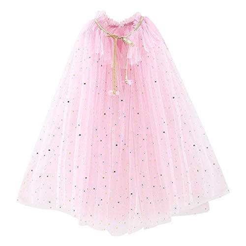 PHOGARY Vistoso Capa Princesa Niña Disfraz Princesa Vestido, Disfraces Halloween Navidad Carnaval Cosplay Cumpleaños Fiesta Princesa Disfraces Capa para Niños(Rosa L)