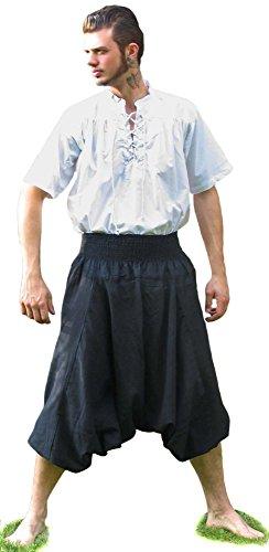 Hemad.de - Pantalon Médiéval en Pur Coton - Noir - L