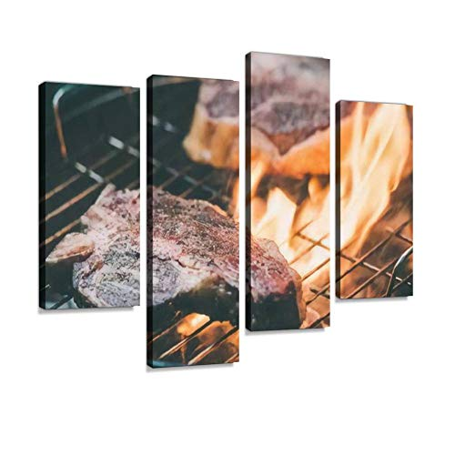 Two t Bone Florentine Beef Steaks on The Grill with Flames Toned Canvas Wall Art Hanging Paintings Modern Artwork Abstract Picture Prints Home Decoration Gift Unique Designed Framed 4 Panel