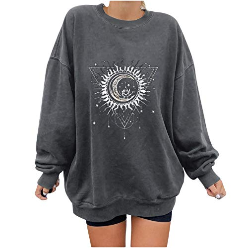 Damen Vintage Oversized Winter Sweatshirt Teenager Mädchen Bunter Cartoons Rundhals Langarmshirt Frauen Casual Tops Mit Lustig Sonne Mond Motiv Mode Druck Sportbekleidung Für Frauen