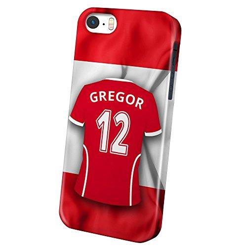 PhotoFancy iPhone 5/5s/SE Handyhülle Premium – Personalisierte Hülle mit Namen Gregor – Case mit Design Fußball-Trikot Österreich zur WM in Russland 2018