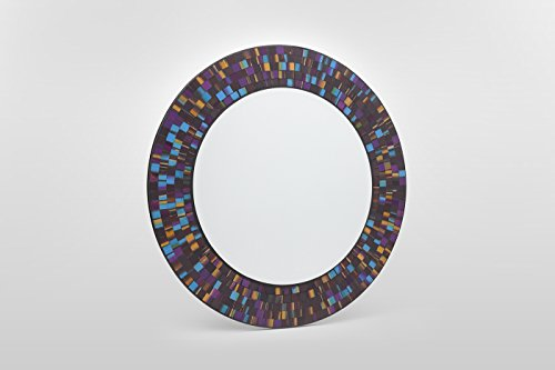 Unbekannt Mosaikspiegel Lord Handarbeit, 50cm rund, Spiegel 34,6cm, inkl. Aufhängung