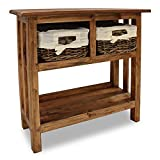 Wooden Console Table Oak, Entrance Decorative Wall Table Balcony Garden Flower Stand Rustic Wood Color Narrow Console Tables For Hallway , Doorway, Corridor,Home Li(Size:107*30*90CM,Color:wood colour)
