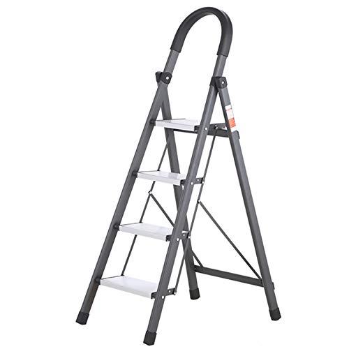 WHOJA Escalerilla Acero de 4 Pasos Plegable Portátil Antideslizante con empuñadura de Goma Ideal para hogar/Cocina/Garaje Capacidad de Carga de 150 kg Ligera y Resistente (Color : Gray)