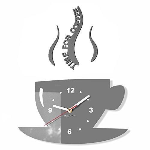 FLEXISTYLE Tasse Time for Coffee (Zeit für Kaffee) Moderne Küche Wanduhr grau, 3D römisch, wanduhr deko