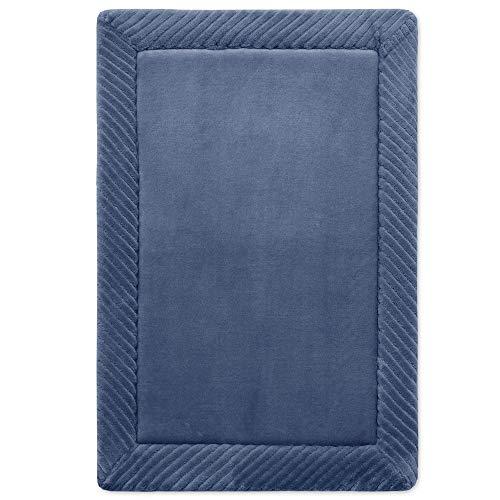 MICRODRY Habitude Memory Foam Border Bath Mat with GripTex Skid-Resistant Base, 16x24, Blue