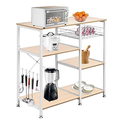 Keebgyy 3-Tier Kitchen Baker's Rack Utility Microwave Oven Stand Storage Cart Workstation Shelf White Oak