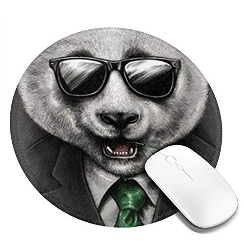 Gafas de sol Panda redonda para ratón, base de goma antideslizante, pequeña alfombrilla de ratón, para ordenadores, oficina en casa, 7.9 x 7.9 pulgadas