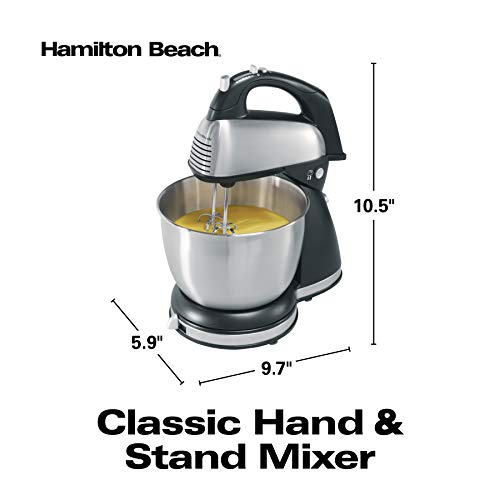 Hamilton Beach Classic Hand and Stand Mixer, 4 Quarts, 6 Speeds with QuickBurst, 290 Watts, Bowl Rest, Black and Stainless (64650),
