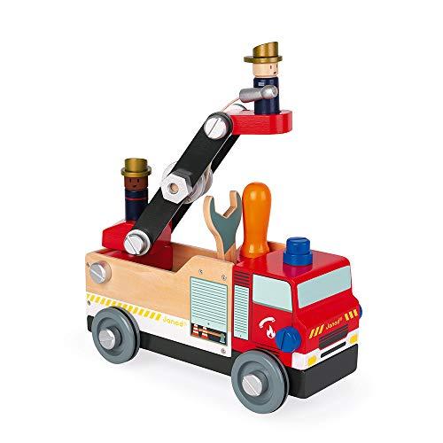 Janod - Camion de Pompiers Bricokids en Bois - Jeu de construction - Avec 2 Pompiers - 45 Pièces, Facile à Monter - Jouet en Bois Certifié FSC® - De 3 à 8 Ans, J06469