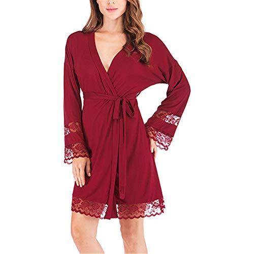 Mujeres Kimono Batas Algodón Ligero Bata Corta Tejido Albornoz Ropa de Dormir Suave con Cuello en V para baño SPA,Albornoz Modal de camisón de Encaje para Mujer